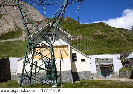 Morasco Lake (vco), Italy - June 21, 2020: The Power Plant Piero Ferrerio , Morasco Lake, Formazza V