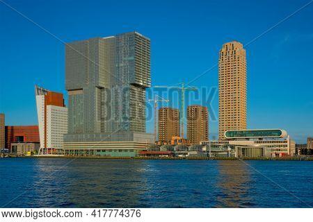 Rotterdam skyscrapers skyline view over of Nieuwe Maas river. Rotterdam