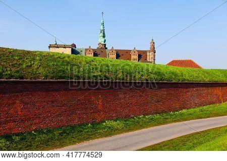 Kronborg Castle Fortification . Scandinavian Medieval Fort . Famous Castle In Helsingor Denmark . Un