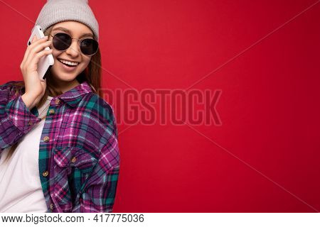 Closeup Photo Of Beautiful Happy Positive Young Blonde Woman Wearing Hipster Purple Shirt And Casual