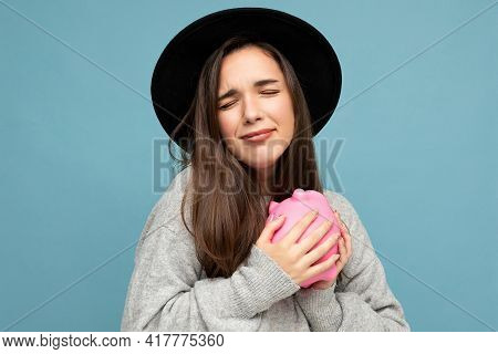 Portrait Photo Of Emotional Positive Touchy Young Beautiful Attractive Brunette Woman With Sincere E