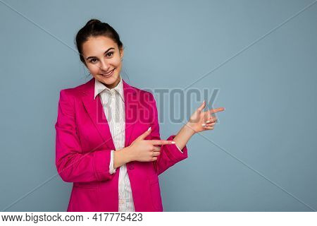 Photo Portrait Of Young Charming Beautiful Positive Happy Smiling Brunette Woman With Sincere Emotio