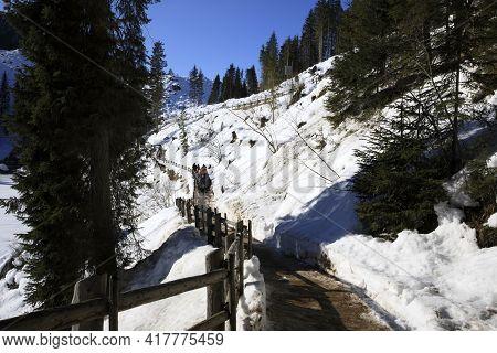 Carezza Lake (bz), Italy - December 01, 2019: The Path Around Carezza Lake, Nova Levante, Bolzano, A
