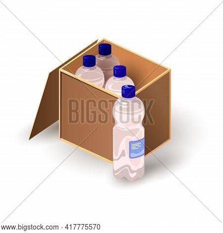 Cartoon Of Wooden Box Full With Bottles Of Clean Liquid For Drinking. Vector Dehydration, Water Rech