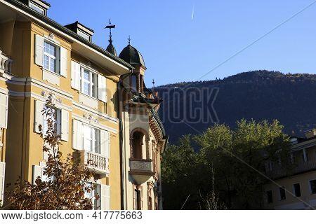 Bolzano (bz), Italy - December 01, 2019: A Facade Datail In Bolzano Town, Bolzano, Alto Adige, Italy