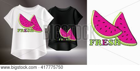 Vector Illustration Of A White And Black Womens T-shirt With A Pattern. Isolated Image Of A Print Fo