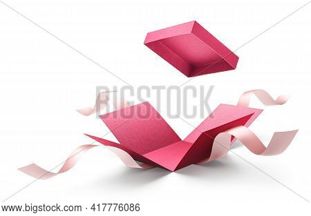 Surprise Gift Box, Red Color Open Gift Box With Ribbon Isolated On White
