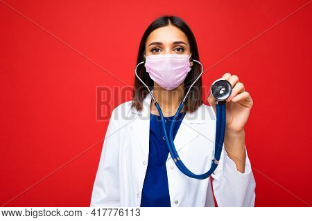 Covid19, Coronavirus, Healthcare And Doctors Concept. Photo Of Professional Confident Young European