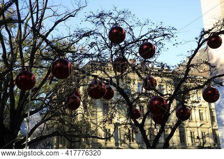 Bolzano (bz), Italy - December 01, 2019: Christmas Decoration Near Christmas Market, Bolzano, Alto A