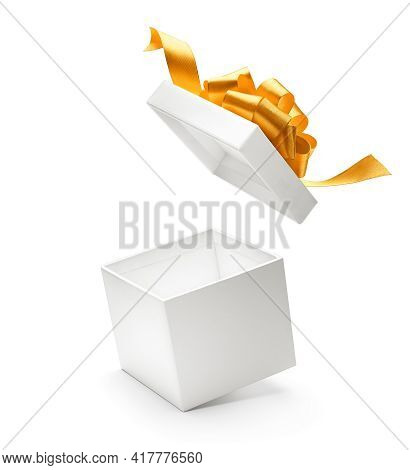 White Color Open Gift Box With Gold Ribbon Isolated On White Background