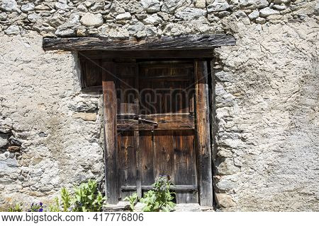 Canza (vco), Italy - June 21, 2020: An Old Wooden Door Canza Village, Formazza Valley, Ossola Valley
