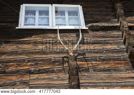 Canza (vco), Italy - June 21, 2020: An House Facade Detail At Canza Village, Formazza Valley, Ossola