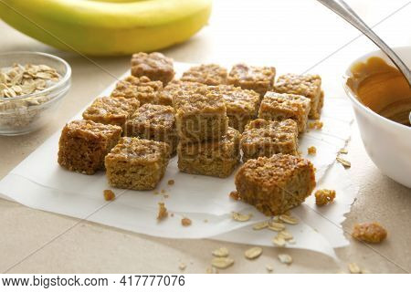 Energy Bites, Fudges Oatmeal Healthy Snack With Bananas, Coconut Oi, Nuts And Seeds, Top View