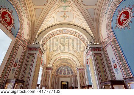 Saint Petersburg, Russia - April 2021: Interiors Of State Hermitage Museum