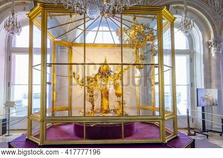 Saint Petersburg, Russia - April 2021: Peacock Clock In Hermitage Museum (winter Palace)