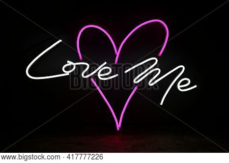 White And Pink Neon Heart With The Inscription Love Me. Trendy Style. Wedding Design. Neon Sign. Cus