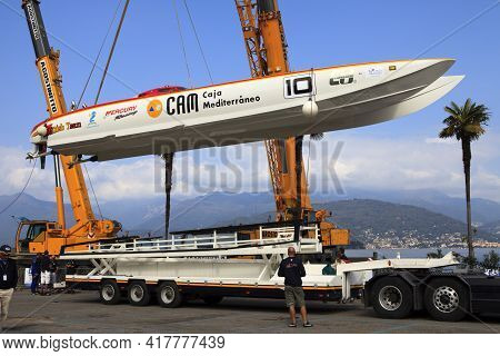 Stresa (vco), Italy - October 04, 2009: A Racing Boat On A Truck At World Offshore Powerboat Champio