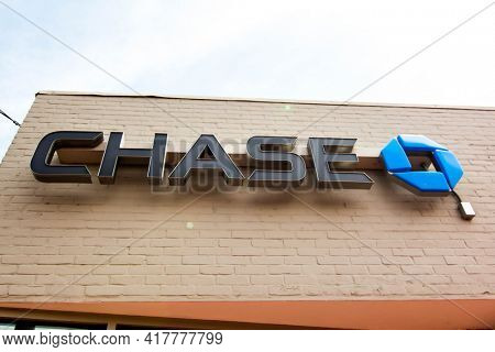 WESTPORT, CT, USA - APRIL 19, 2021: Chase sign on brick building