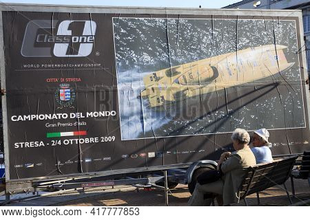 Stresa (vco), Italy - October 04, 2009: A Poster Publishing The World Offshore Powerboat Championshi