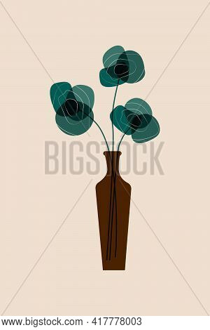 Abstract Black Flowers In Vase Wall Art. Simplicity Of Neutral Color Bontanical Flowers Wall Decor.