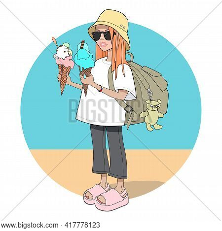 Cute Teen Girl In Street Style Fashion With Big Ice Crem In Waffle Cone Standing On The See Coast Ba
