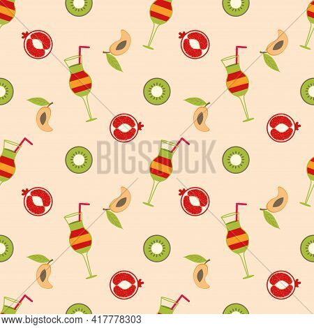 Illustration Depicting A Cocktail With Pieces Of Fruit On A Beige Background. Mango, Kiwi, Pomegrana