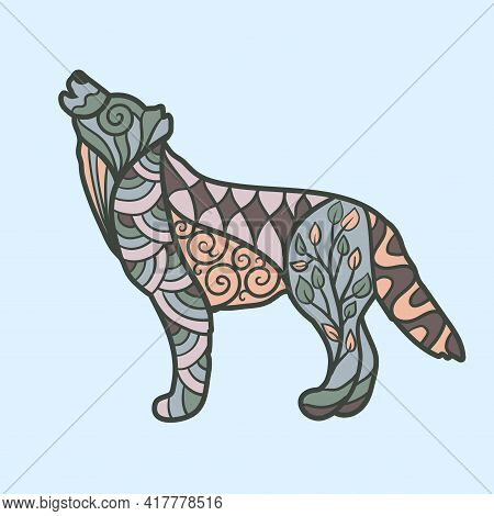 Vector Howling Wolf With Abstract Patterns, Zenart