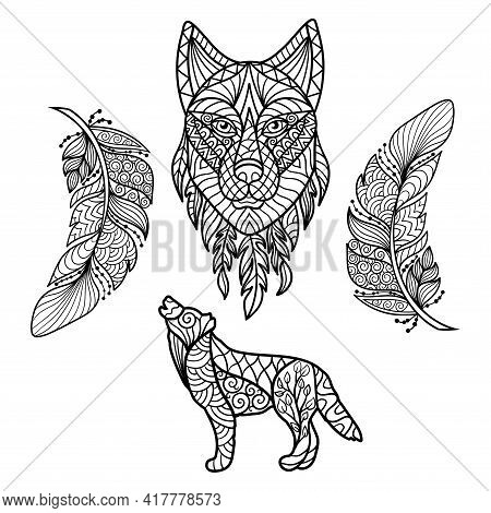 Vector Abstract Wolf, Wolf Head And Feathers In Ethnic Style With Patterns, Coloring Page For Kids A