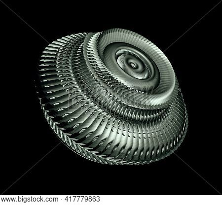 Sci-fi Gear With Overlapping Blades Isolated On Black Background, 3d