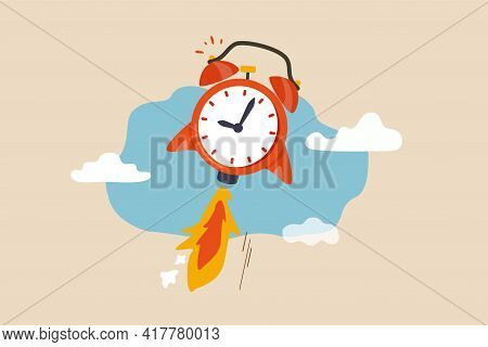 Time To Start New Business, Entrepreneurship To Launch Project Or Time Management Concept, Ringing A