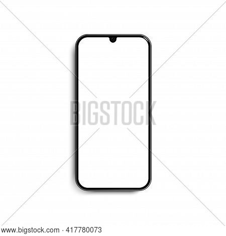 Modern Smartphone With White Screen. Blank Smartphone Screen Mockup Design. Isolated On White Backgr