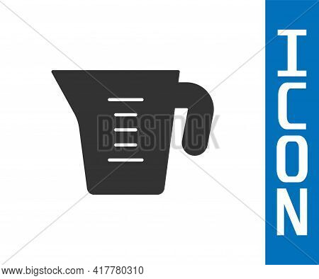 Grey Measuring Cup To Measure Dry And Liquid Food Icon Isolated On White Background. Plastic Graduat