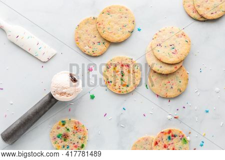Sprinkle Sugar Cookies And A Scoop Of Black Cherry Ice Cream Ready For Making Homemade Ice Cream San