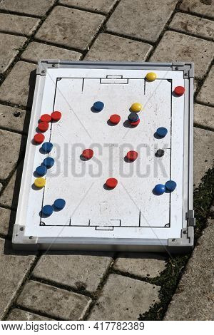 Odessa, Ukraine - April 7, 2021: Football Magnetic Tactic Board Of Soccer Coach. Symbols Of Tactical