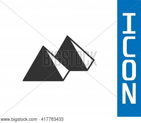Grey Egypt Pyramids Icon Isolated On White Background. Symbol Of Ancient Egypt. Vector