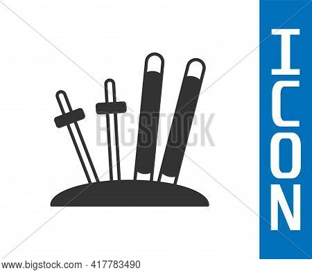 Grey Ski And Sticks Icon Isolated On White Background. Extreme Sport. Skiing Equipment. Winter Sport