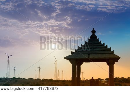Silhouette Of Bada Bagh Or Barabagh, Means Big Garden, Is A Garden Complex In Jaisalmer, Rajasthan,