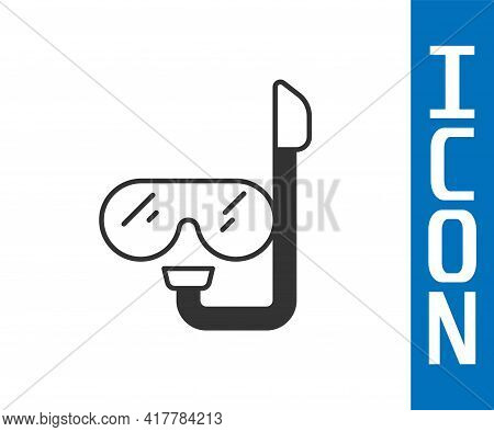 Grey Diving Mask And Snorkel Icon Isolated On White Background. Extreme Sport. Diving Underwater Equ