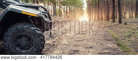 Clode-up Side Of Atv Awd Quadbike Motorcycle Profile View Dirt Country Forest Road Beautiful Nature