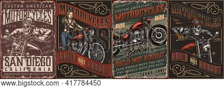 Motorcycle Vintage Posters Collection With Skeleton Moto Riders Pretty Biker Girl And Bobber Motorbi