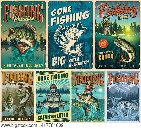 Fishing Vintage Posters Set With Inscriptions Anglers Caught Different Fishes And Beautiful Woman Si