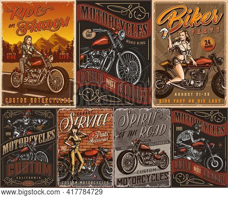 Motorcycle Vintage Colorful Posters Set With Pretty Moto Rider Girl Skeleton Motorcyclists Custom Mo