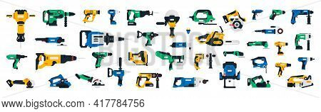 Large Collection Of Construction Power Tools. Impact Wrench, Screwdriver, Plane, Chainsaw, Jigsaw, C
