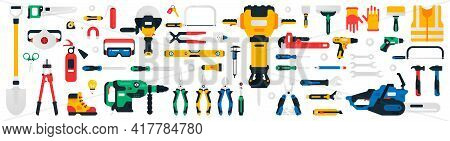 Construction Tools Set. Collection Of Tools For Repair, Construction, Finishing Work. Work Accessori