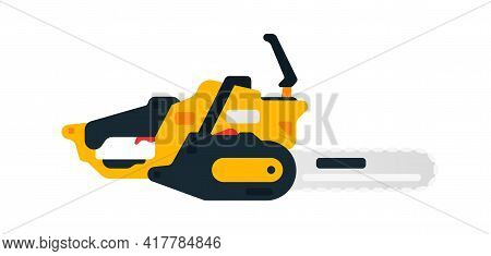 Electric Chainsaw Side View. Power Tools For Home, Construction And Finishing Work. Professional Wor
