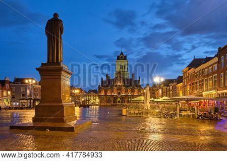 Delft Market Square Markt in the evening. Delfth, Netherlands
