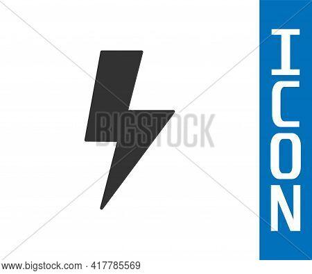 Grey Lightning Bolt Icon Isolated On White Background. Flash Sign. Charge Flash Icon. Thunder Bolt.