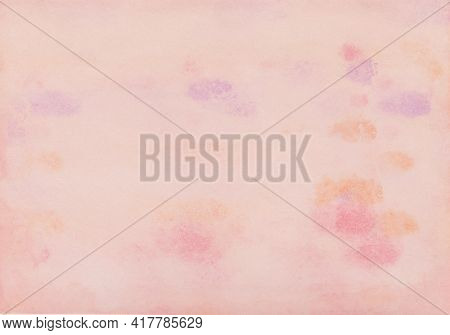 Watercolor Painting In Pink, Purple And Yellow Which Had Painted With A Microfiber Paint Roller