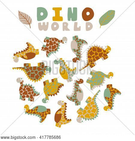 Dino World By Pastel Natural Colors Print With Dinosaurs And Leaves Isolated On White Background Sto