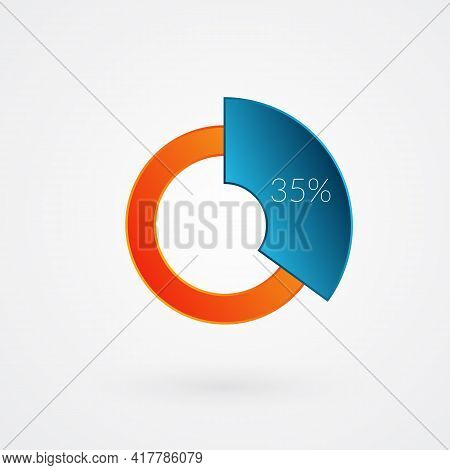 35 Percent Isolated Pie Chart. Percentage Vector, Infographic Gradient Icon. Circle Sign For Busines